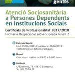 Nou curs: Atenció sociosanitària a persones dependents en institucions socials