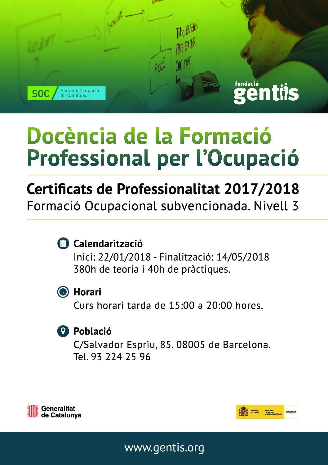 Nou curs: Docència de la formació professional per l'ocupació