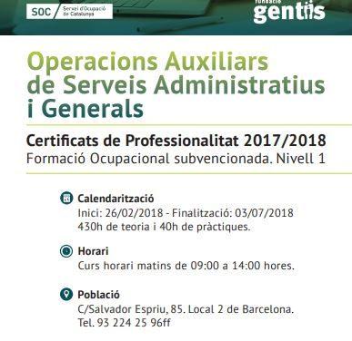 Nou curs a Gentis Barcelona: Operacions auxiliars de serveis administratius i generals